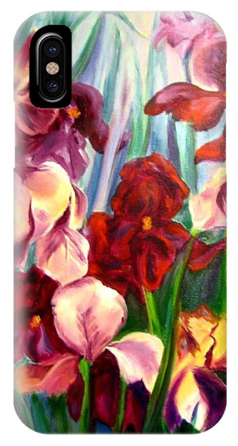 Flowers IPhone X Case featuring the painting Morning Iris by Jeff Troeltzsch