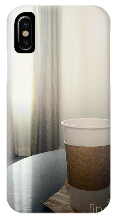 Coffee; Cup; Paper; To Go; Travel; Traveling; Table; Napkin; Hot; Window; Drapes; Curtains; Light; Lightness; Shear; Room; Inside; Interior; Indoors; Carpet; Wall; Hotel; Business; Vacation; Reflection; Enlighten; Morning; Generic; Empty; Still Life; Joe; Drink; Liquid IPhone X Case featuring the photograph Morning Joe by Margie Hurwich