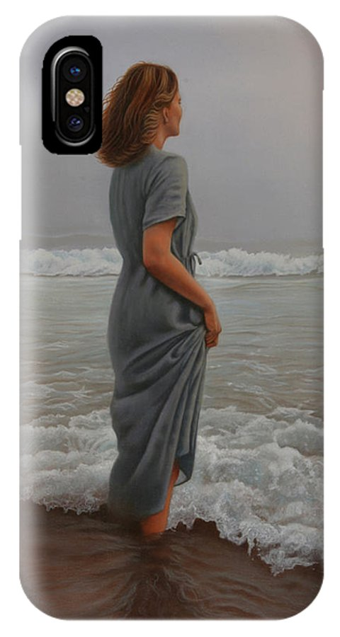 Realistic IPhone X / XS Case featuring the painting Morning Mist by Holly Kallie