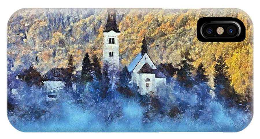 Rural Scenes IPhone X Case featuring the painting Morning Mist On The Island by Dragica Micki Fortuna