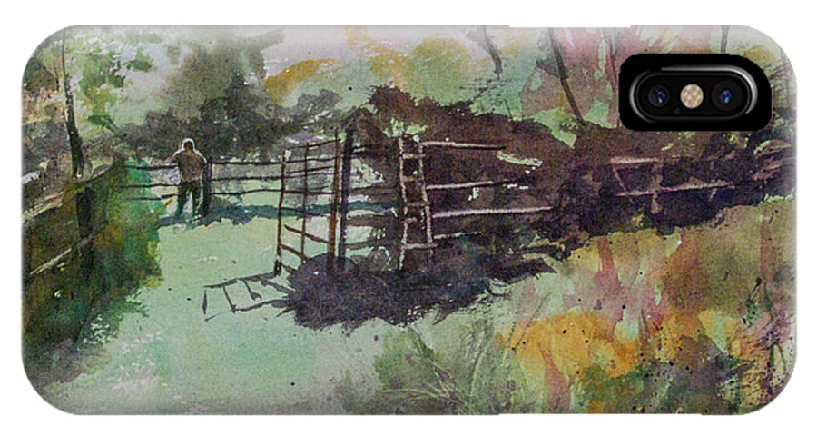 Watercolor IPhone X Case featuring the painting Morning On The Sheep Farm by Rebecca J Dunn