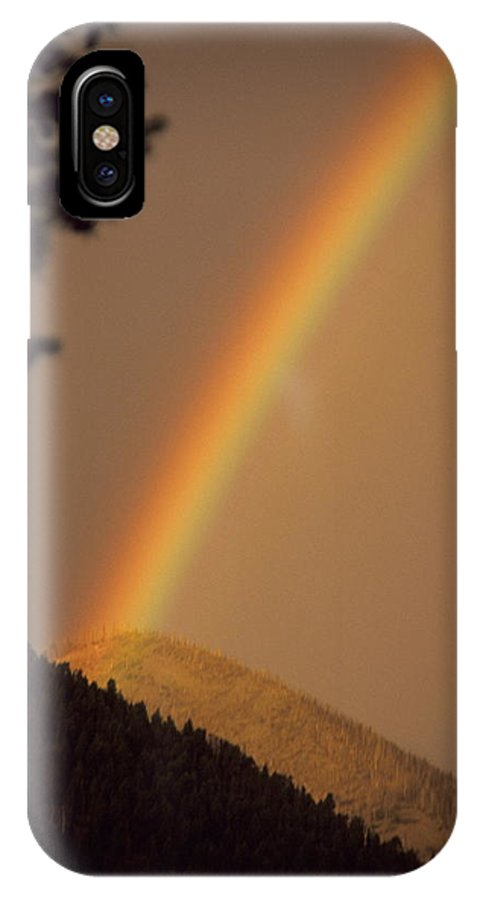 Rainbow Weather Sky Sugarloafmountain Simple Zen Colorado Rocky Mountains IPhone X Case featuring the photograph Morning Rainbow by George Tuffy