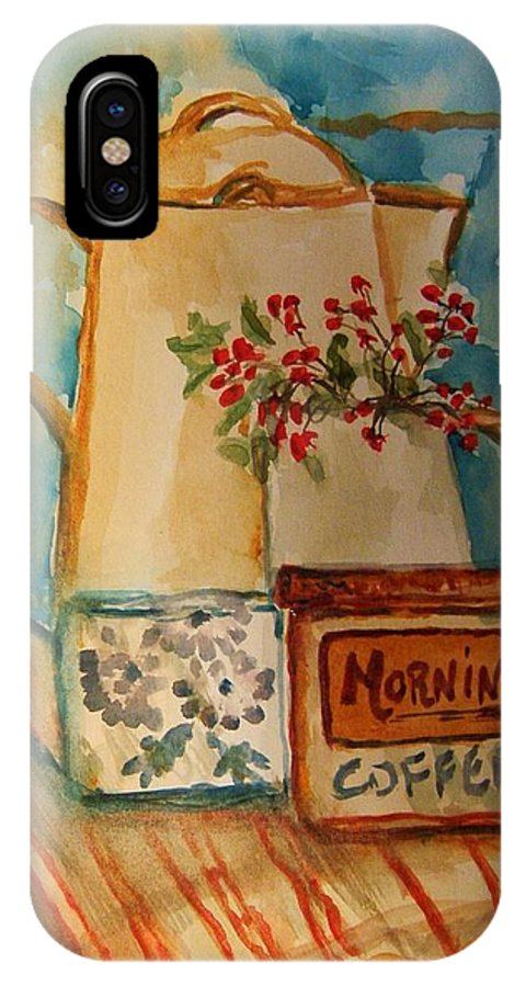 Coffee IPhone X Case featuring the painting Morning Still by Elaine Duras