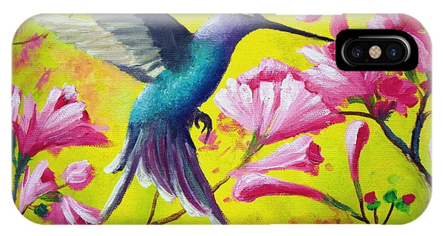 Hummingbird IPhone X Case featuring the painting Morning Sweets by David G Paul