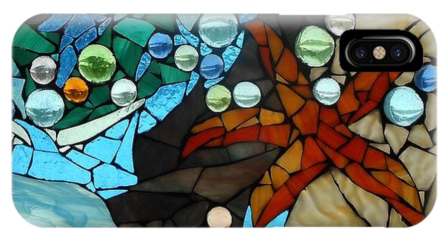 Starfish IPhone X Case featuring the glass art Mosaic Stained Glass - Low Tide by Catherine Van Der Woerd