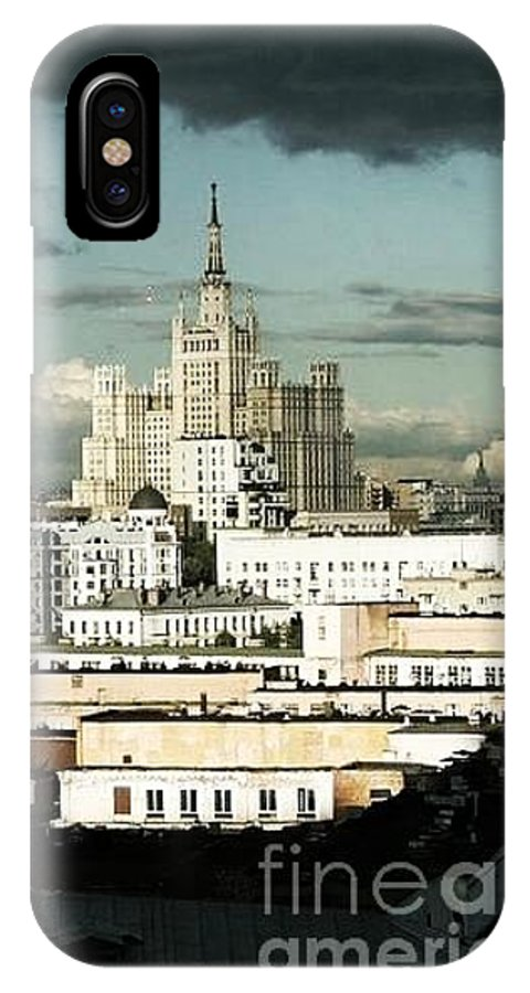 Moscow IPhone X Case featuring the drawing Moscow Edge by Cate Field