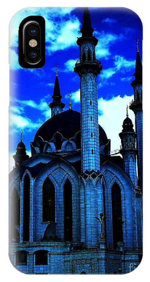 Mosque IPhone X Case featuring the photograph Mosque In Blue Colors by Yury Bashkin