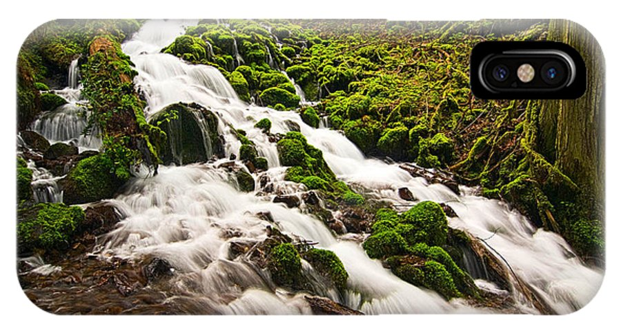 River IPhone X Case featuring the photograph Mossy River Flowing. by Jamie Pham