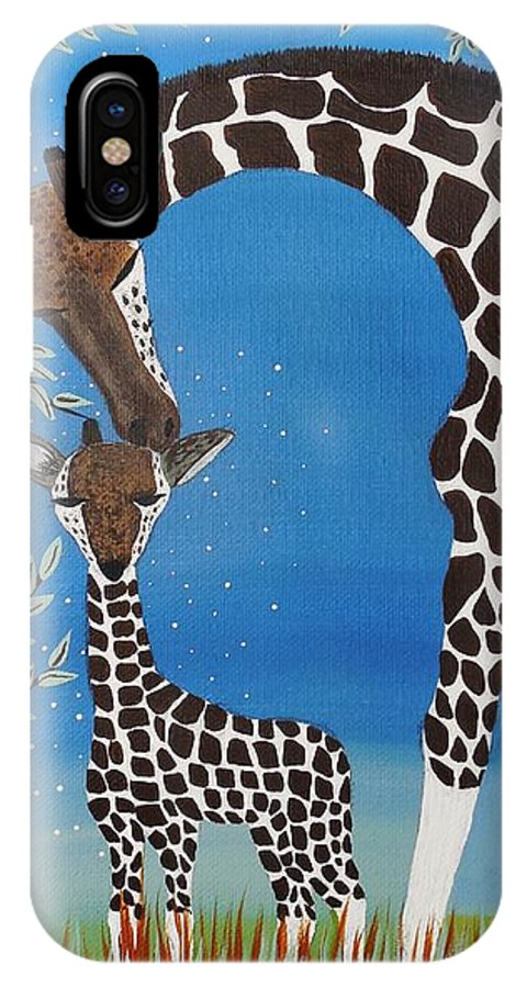Giraffe Totem IPhone X / XS Case featuring the painting Mother And Baby Giraffe by Jean Fry