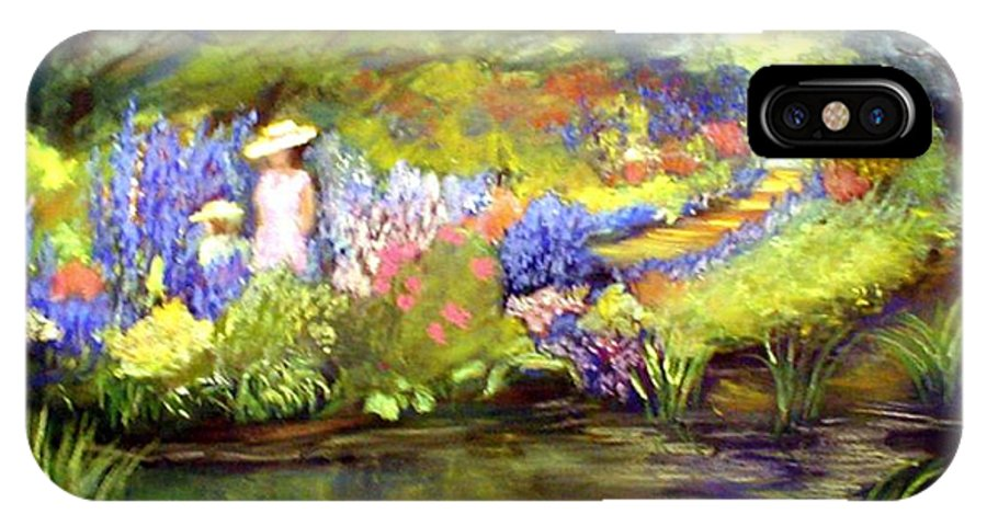 Flower Garden IPhone X Case featuring the painting Mother And Daughter by Gail Kirtz