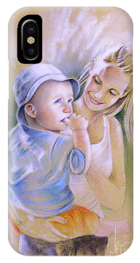 Portrait IPhone Case featuring the painting Mother And Son by Miki De Goodaboom