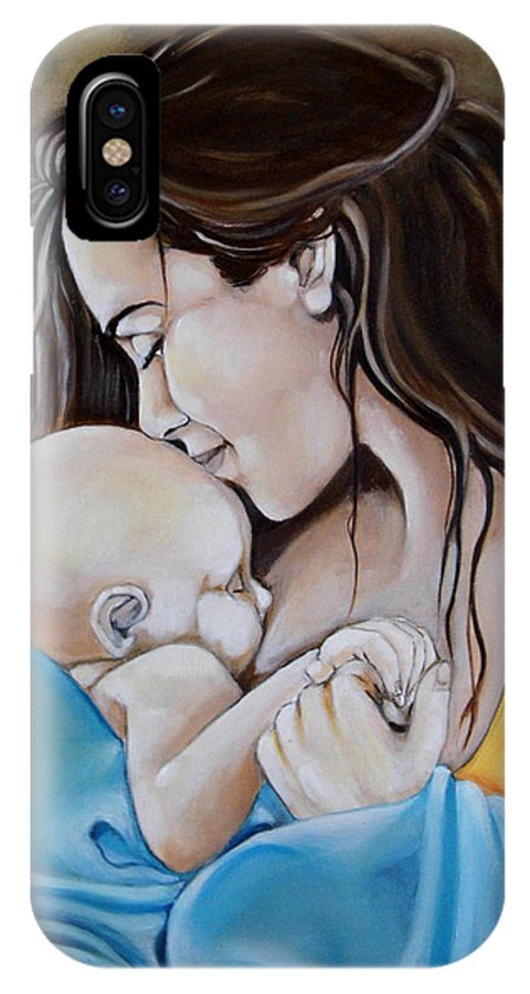 Mother Son Portrait Child Born Prints IPhone X Case featuring the painting Mother And Son by Yiannis Notaropoulos