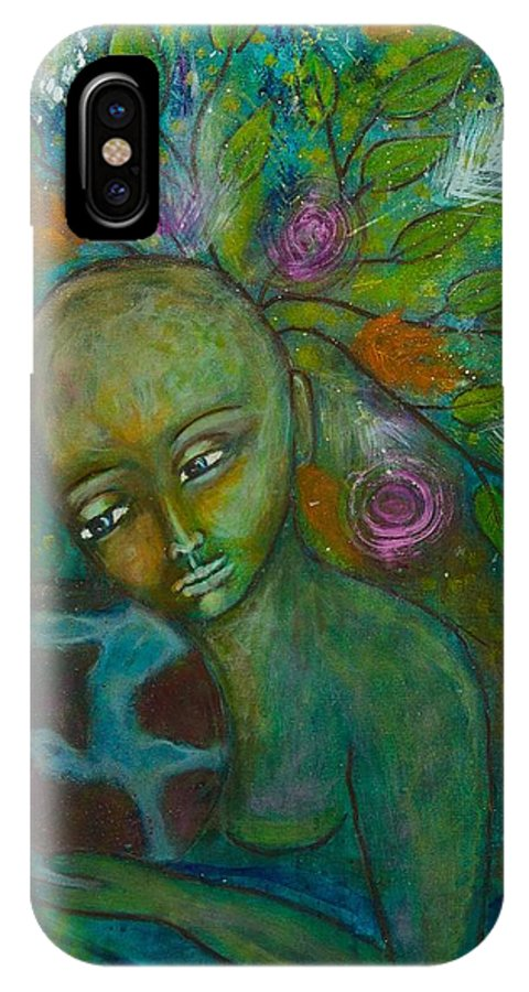Mother Earth IPhone X Case featuring the painting Mother Earth by Havi Mandell