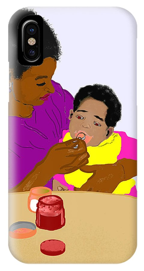 Mother IPhone X Case featuring the painting Mother Feeding Her Baby by Pharris Art