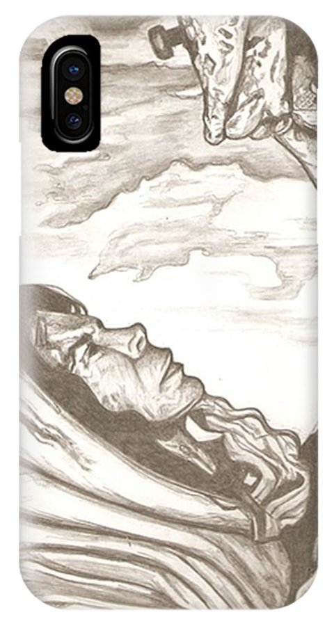 Mary IPhone X Case featuring the drawing Mother Mary Drawing by Robert Crandall