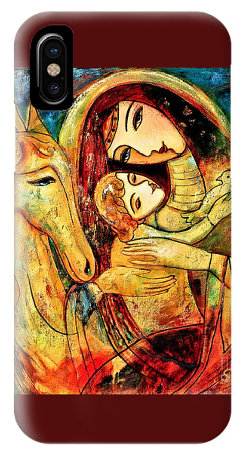 Mother And Child IPhone X / XS Case featuring the painting Mother With Child On Horse by Shijun Munns