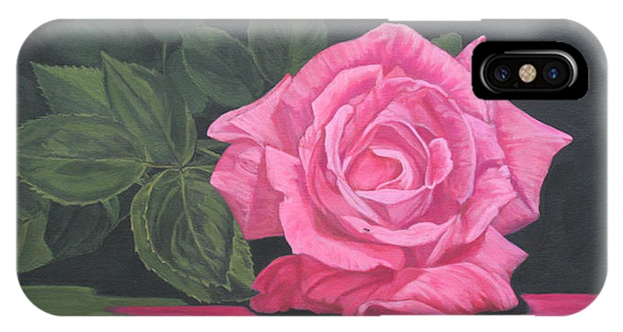 Rose IPhone X Case featuring the painting Mothers Day Rose by Wendy Shoults