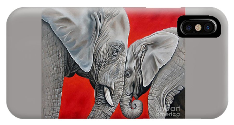 Elephant IPhone X Case featuring the painting Mothers Love by Ilse Kleyn