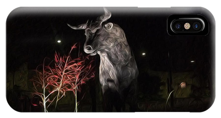 Bull IPhone X Case featuring the digital art Motion In Lights by William Hadala