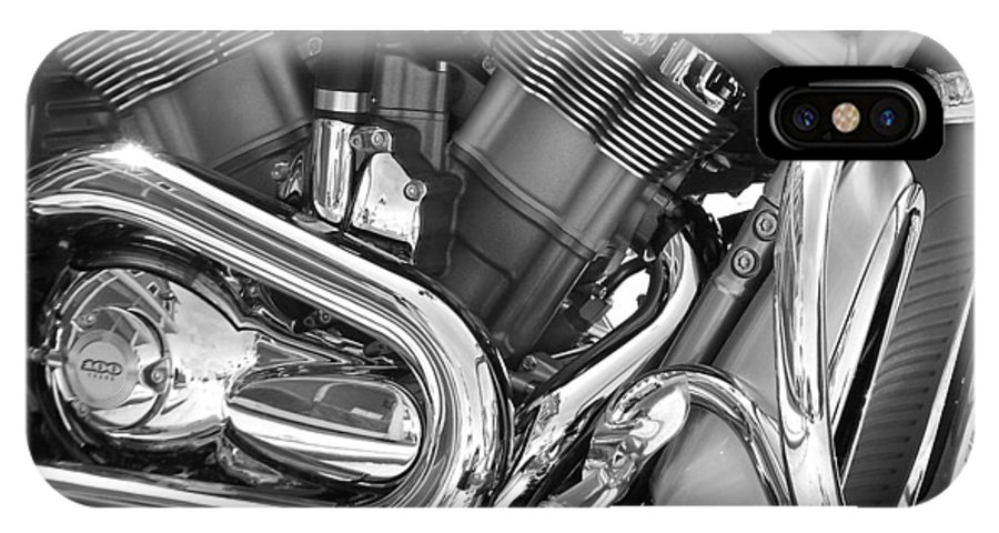 Motorcycles IPhone X Case featuring the photograph Motorcycle Close-up Bw 1 by Anita Burgermeister
