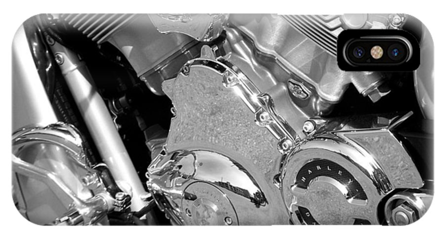 Motorcycles IPhone X Case featuring the photograph Motorcycle Close-up Bw 2 by Anita Burgermeister