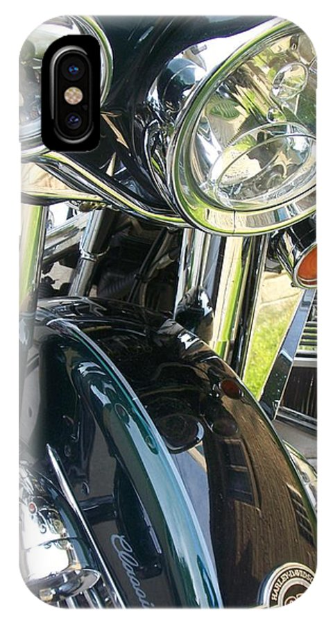 Motorcycles IPhone X Case featuring the photograph Motorcyle Classic Headlight by Anita Burgermeister