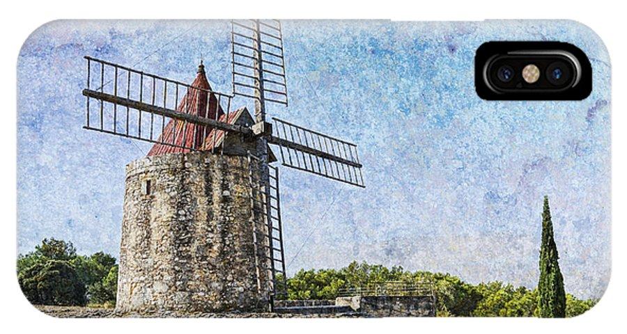 Moulin De Daudet IPhone X Case featuring the photograph Moulin De Daudet Fontvieille France On A Texture Dsc01833 by Greg Kluempers