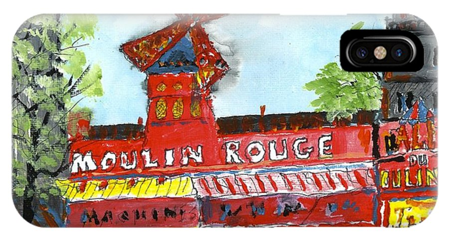 Paris IPhone X Case featuring the painting Moulin Rouge by Patrick Grills