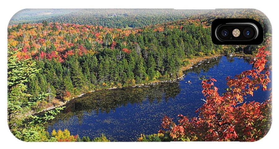 Mount Sunapee IPhone X Case featuring the photograph Mount Sunapee Lake Solitude Fall Foliage by John Burk