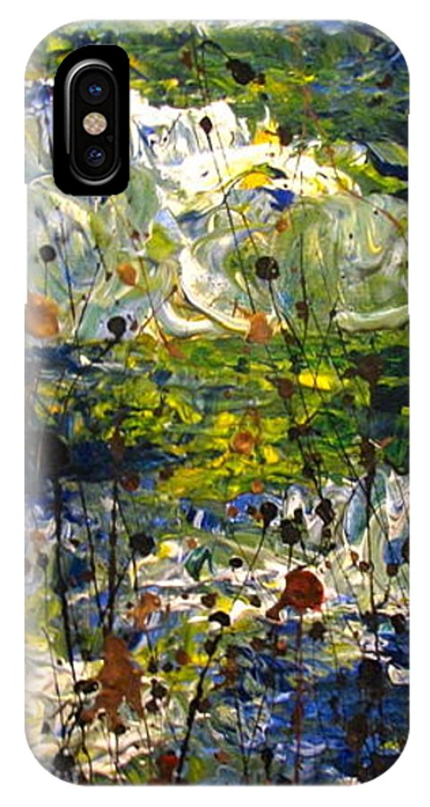 Water IPhone X Case featuring the painting Mountain Creek by Jacqueline Athmann