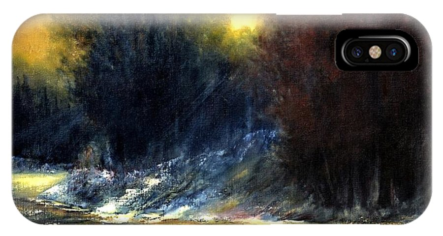 Sunrise IPhone X Case featuring the painting Mountain Creek by Zbynek Jablonecky