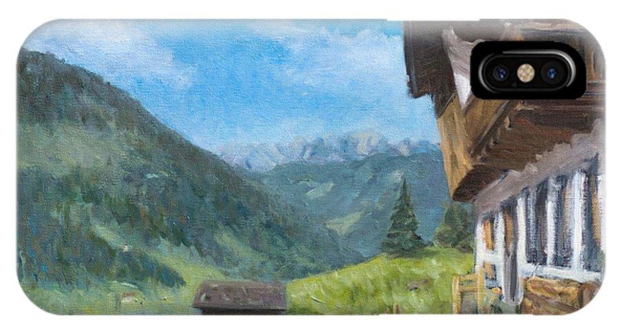 Mountain Pasture Farm House Alps Tirol Austria IPhone X Case featuring the painting Mountain Farm In Austria by Marco Busoni