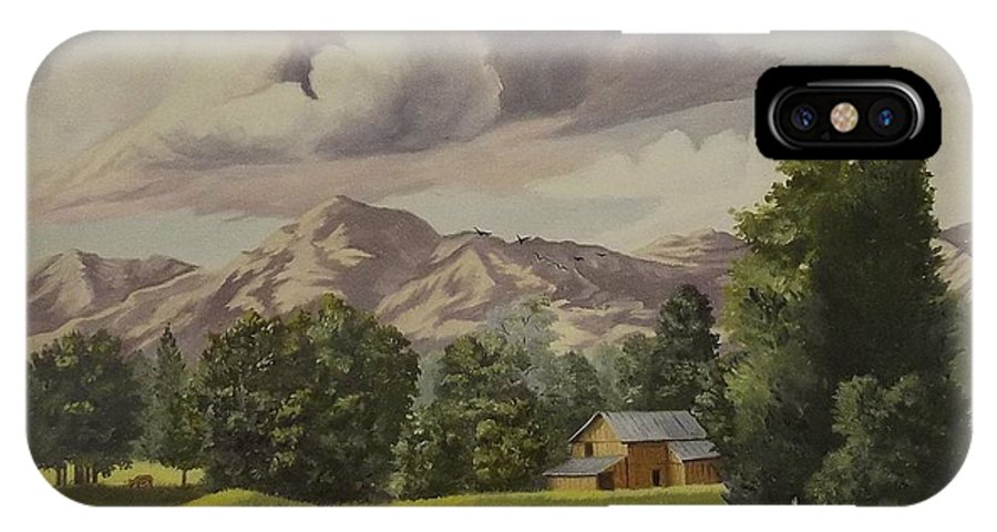 Landscape IPhone X Case featuring the painting Mountain Farm by Wanda Dansereau