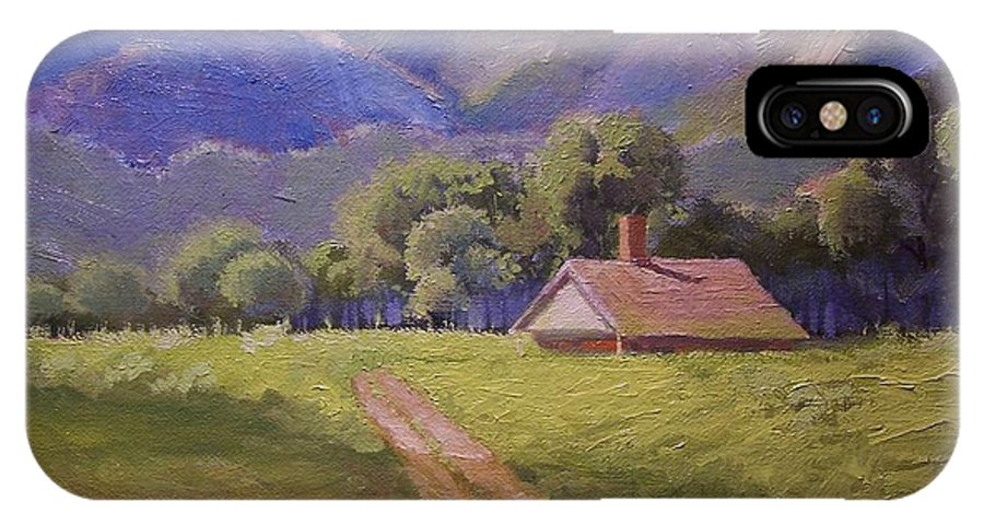 Dan IPhone Case featuring the painting Mountain Farmhouse by Dan Smart