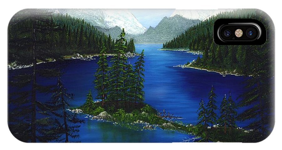 Mountain IPhone X Case featuring the painting Mountain Lake Canada by Patrick Witz
