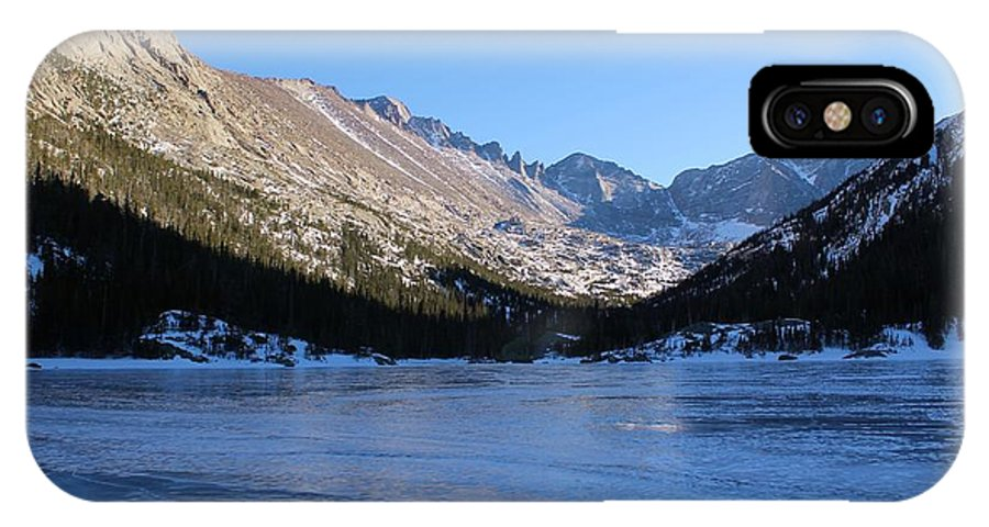 Ice IPhone X Case featuring the photograph Mountain Reflection On Frozen Lake by Tonya Hance