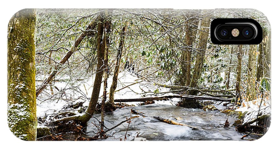 Winter IPhone X Case featuring the photograph Mountain Stream In Winter by Thomas R Fletcher