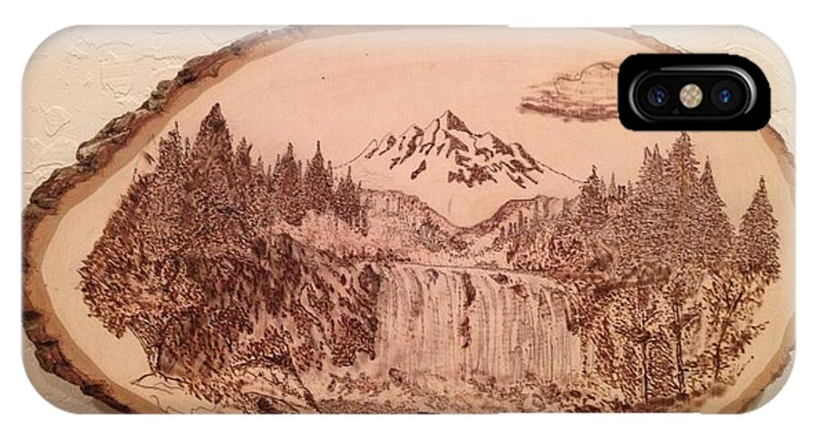 Mountain IPhone X Case featuring the pyrography Mountain Waterfall by Dwayne Daniels