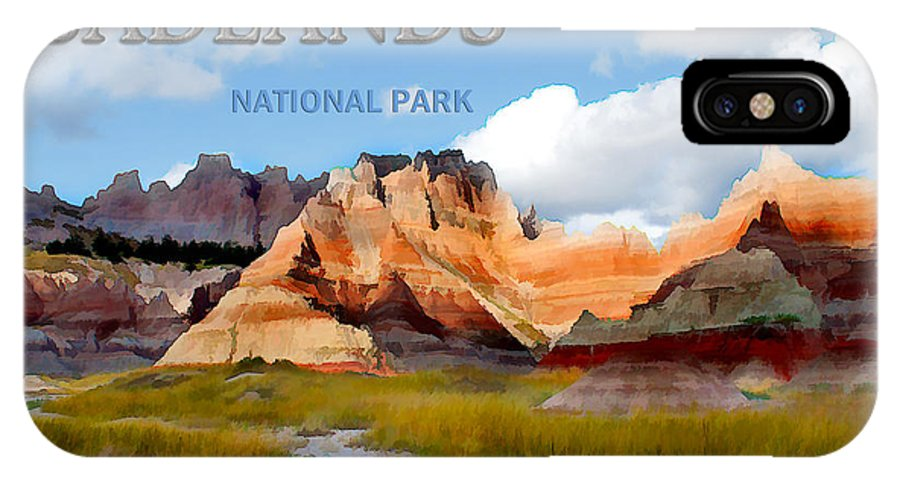 Travel IPhone X Case featuring the painting Mountains And Sky In The Badlands National Park by Elaine Plesser