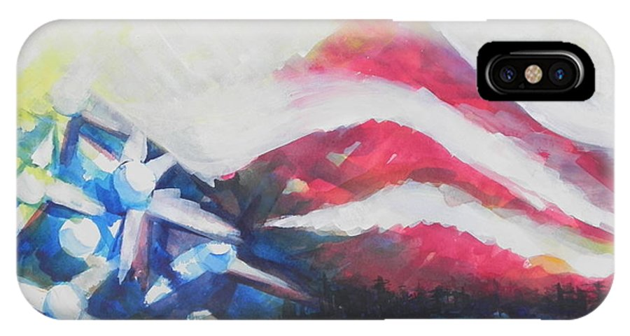 Watercolor Painting IPhone X Case featuring the painting Mountains Of Freedom Two by Chrisann Ellis