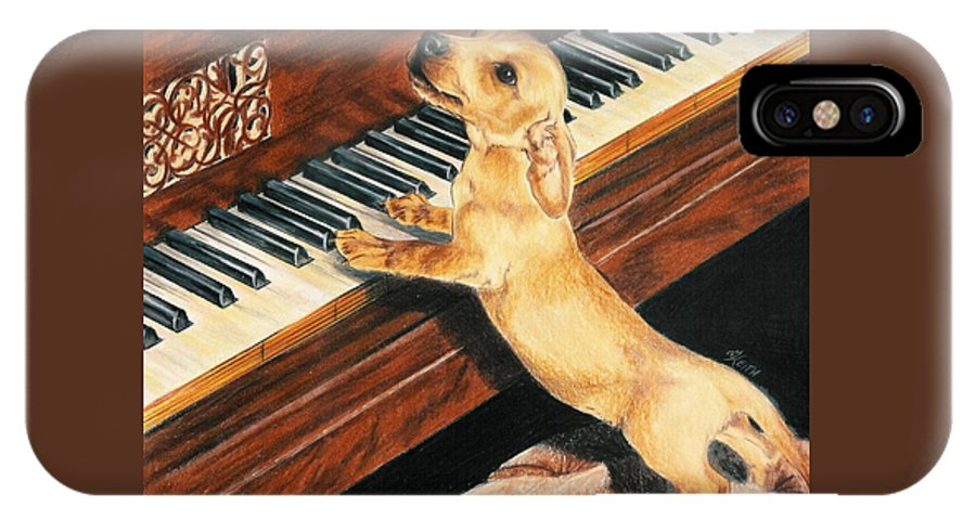 Purebred Dog IPhone X Case featuring the drawing Mozart's Apprentice by Barbara Keith