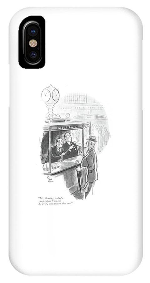 110384 Rde Richard Decker Man Asking For Information At Grand Central Station. Asking Booth Central Cities City Department Departments Desk Desks Grand Info Information Inquiry Man New Ny Nyc Question Rail Railroad Railroads Rails Schedule Schedules Station Stations Suggest Suggestion Suggestions Train Trains Transit York IPhone X Case featuring the drawing Mr. Bradley by Richard Decker