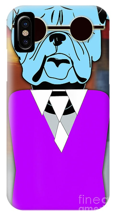 Bulldog Puppies Digital Art IPhone X Case featuring the mixed media Mr Cool Bulldog by Marvin Blaine