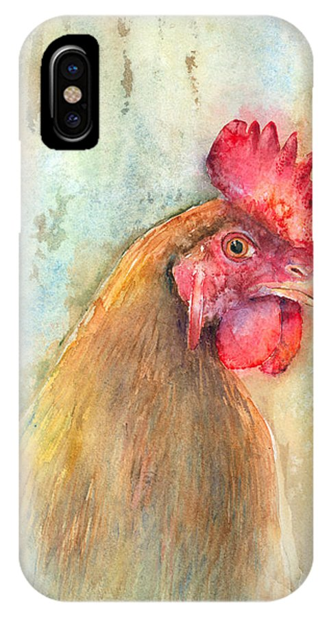 Chicken IPhone X Case featuring the painting Mr.- In Love With Mrs. by Arline Wagner