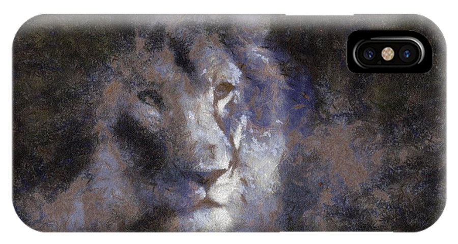 Wildlife IPhone X Case featuring the photograph Mr Lion Photo Art 02 by Thomas Woolworth