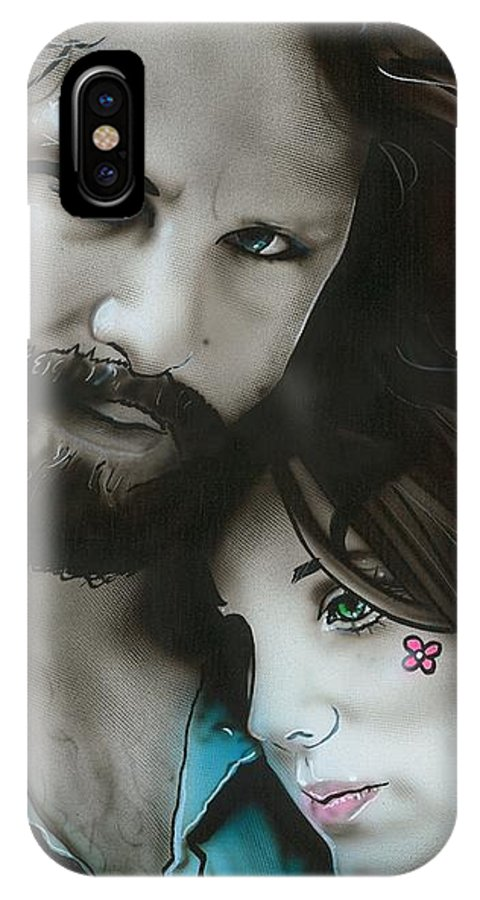 Music IPhone X Case featuring the painting Mr Mojo Risin And Pam by Christian Chapman Art