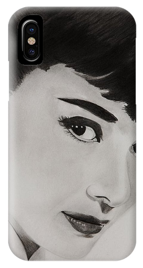 Brian Broadway Art IPhone X Case featuring the drawing Ms Hepburn by Brian Broadway