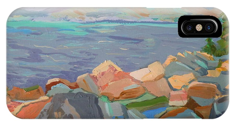 Landscape IPhone X Case featuring the painting Mt. Desert From Schoodic Point by Francine Frank