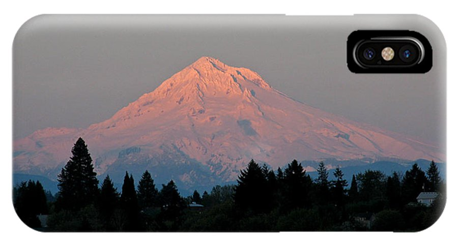 Mount Hood IPhone X Case featuring the photograph Mt Hood At Sunset by Eric Mace