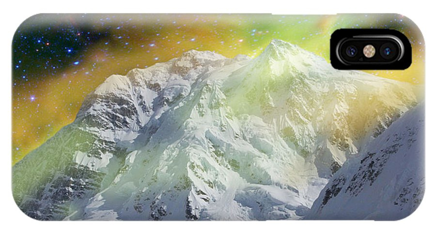 Alaska IPhone X Case featuring the photograph Mt. Hunter Aurora # Da 129 by Dianne Roberson